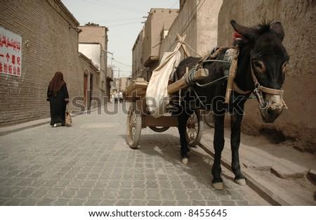 Street in Kashgar. China - stock photo