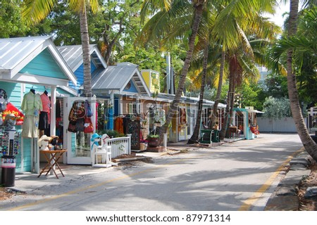 street in key west, florida - stock photo