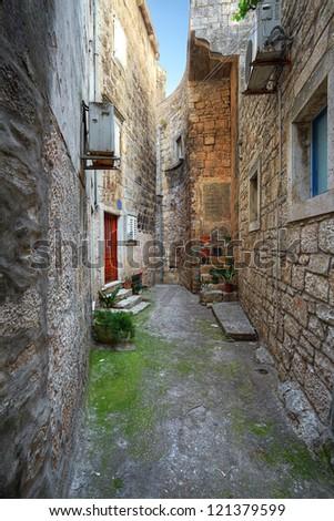 street in Korcula. Croatia. - stock photo