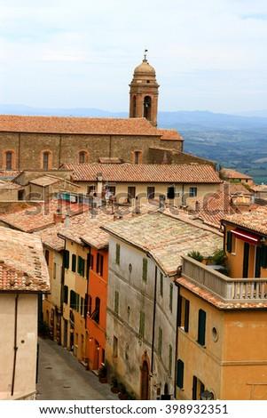 Street in Montalcino, Tuscany - stock photo