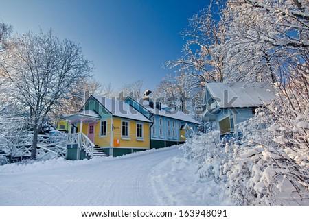 Street in Moomin World, Naantali town in Finland - stock photo