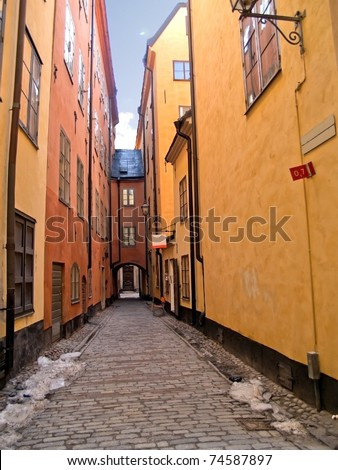 street in old down town (Gamla Stan), Stockholm, Sweden - stock photo