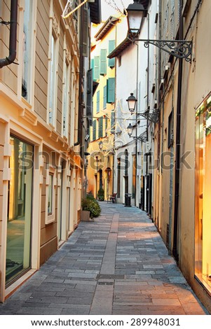Street in old historic town, Reggio Emilia, Italy. - stock photo
