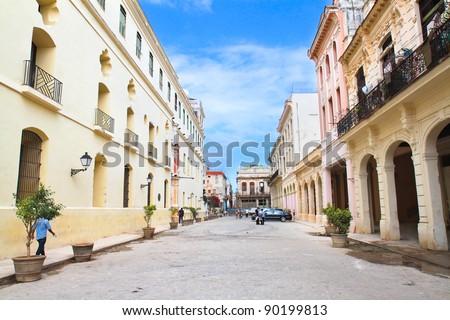 Street in old part of Havana.  Havana, Cuba - stock photo