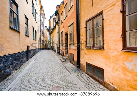 street in old town Galma Stan, Stockholm, Sweden - stock photo