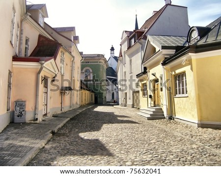 Street in old town. Tallinn, Estonia - stock photo