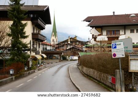 Street in old Tyrol (Austria) village - stock photo
