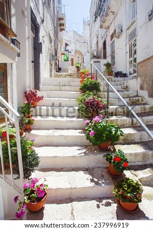 Street in Ostuni. Southern Italy - stock photo