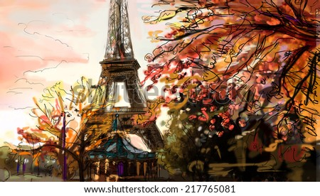 Street in paris. Eiffel tower -sketch  illustration  - stock photo