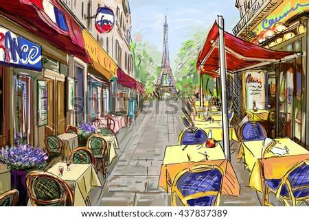 Street in paris - illustration concept - stock photo