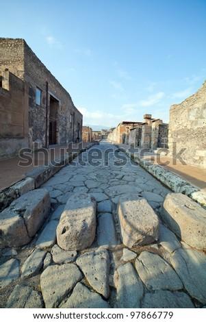 Street in Pompei ruins, Italy. - stock photo