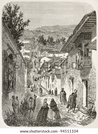 Street in Quito suburb old view. Created by Therond after Charton, published on Le Tour du Monde, Paris, 1867 - stock photo