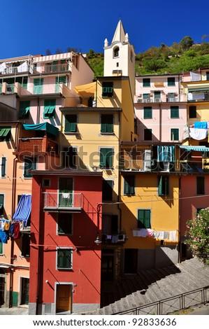 Street in Riomaggiore, Cinque Terre, Italy - stock photo