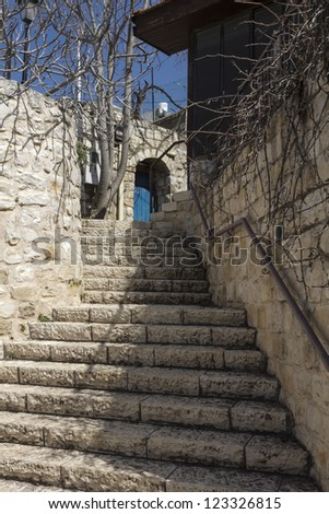 street in the city of Safed, stone-coated