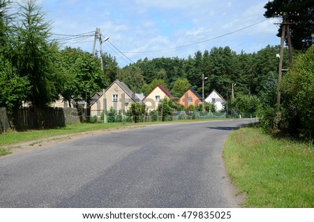 Street in the countryside in Poland