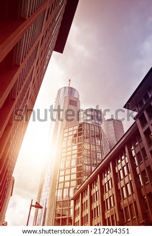 Street in the financial district of Frankfurt am Main, Germany - stock photo