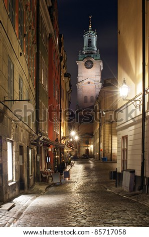 Street in the historical part of Stockholm city, at the Gamlastan island. - stock photo