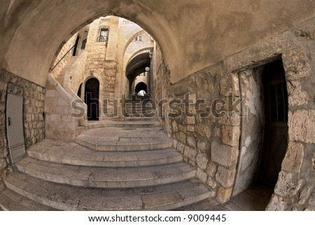 Street in the Jewish block of the old city of Jerusalem. - stock photo