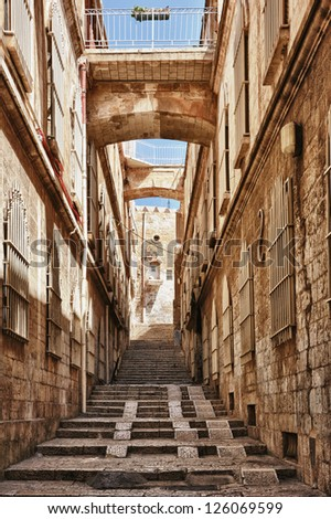 Street in the old part of Jerusalem, Israel - stock photo