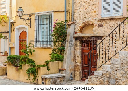 Street in the old town Antibes in France.