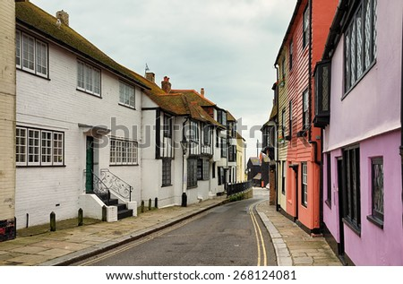 Street in the old town, Hastings - stock photo