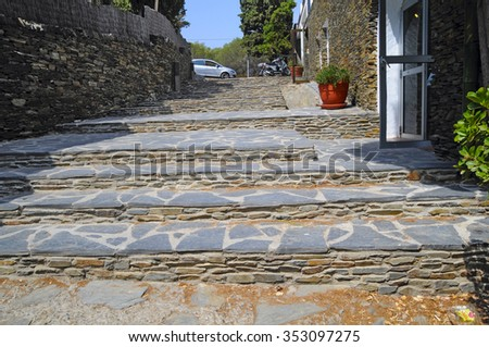street in the old town of Cadaques, Spain - stock photo