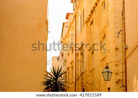 Street in the Old town of Dubrovnik, UNESCO World Heritage site of Croatia. - stock photo