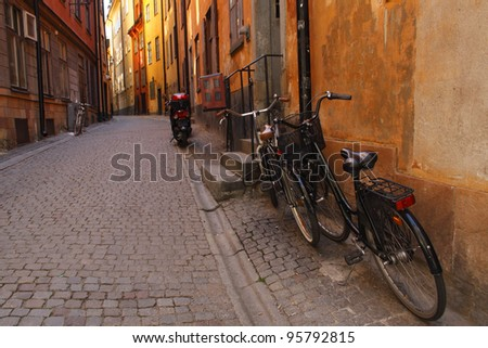 Street in the old town of Gamla Stan in Stockholm in Sweden in Europe - stock photo