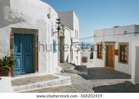 street in the old town of Patmos, Greece.