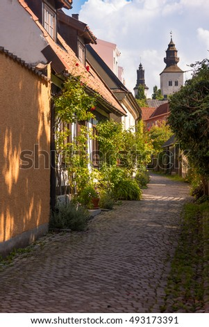 Street in the old town of Visby on the island of Gotland, Sweden.