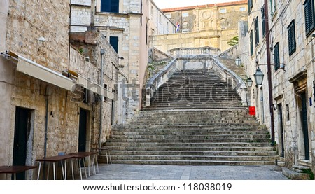 street in the small town Dubrovnik, Croatia - stock photo
