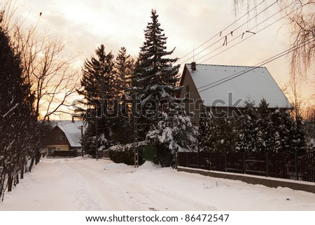 Street in the winter, evening shot - stock photo