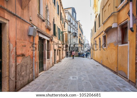 street in Venice,  in Cannaregio district, vintage houses - stock photo