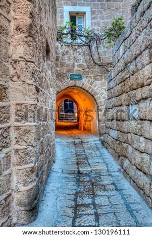 Street in Yaffa, Israel - stock photo