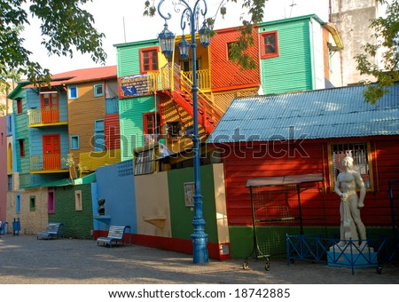 Street La Boca - Caminito, Buenos Aires, Argentina. Typical colorful houses and facades in the famous La Boca district in Buenos Aires, Argentina. - stock photo