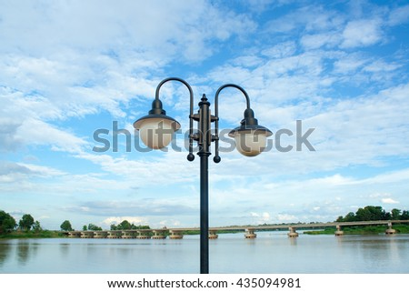 Street Lamp Against Blue Sky. - stock photo