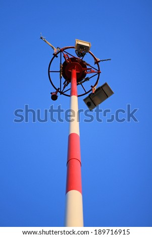 Street lamp against blue sky background  - stock photo