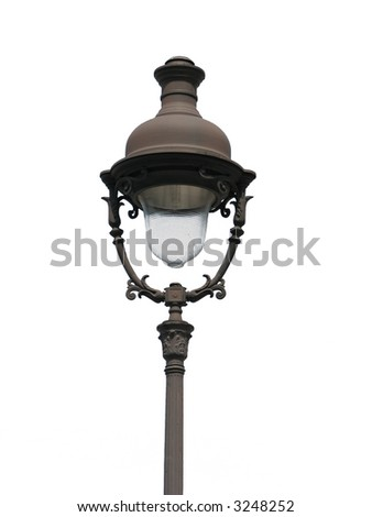 street lamp from Paris, France, isolated on white - stock photo