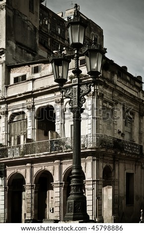 Street lamp in front of a building, Havana, Cuba - stock photo