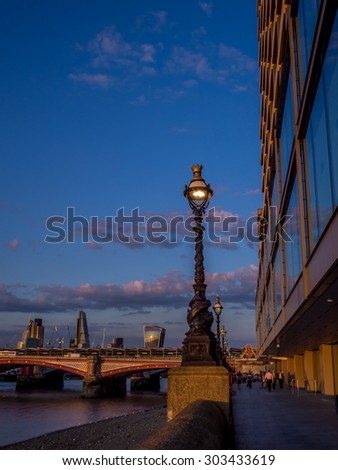 Street lamp in London at sunset