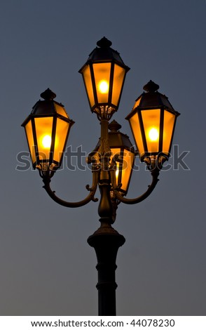 street lamp in sky at evening - stock photo