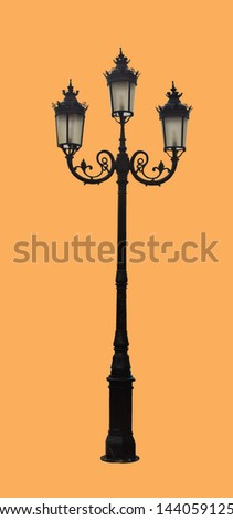 Street lamp isolated on  brown background