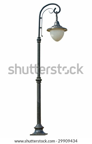 Street lamp isolated on white - stock photo