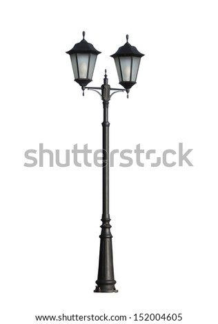street lamp isolated on white background - stock photo