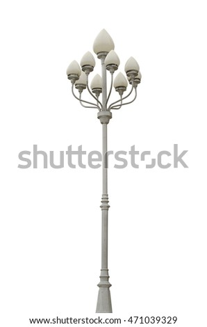 street lamp isolated on white background, lamp in the Park