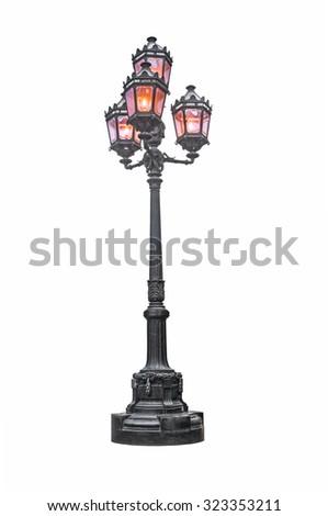 Street lamp isolation on white background - stock photo