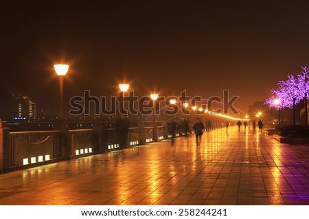 street lamp night - stock photo