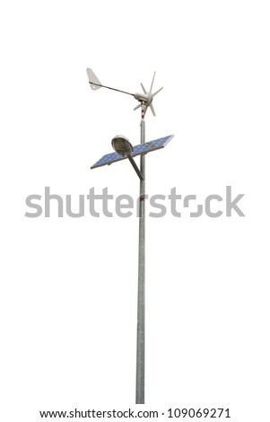 Street lamp powered by a solar panel and a small wind turbine. Isolated on white, clipping path included. - stock photo