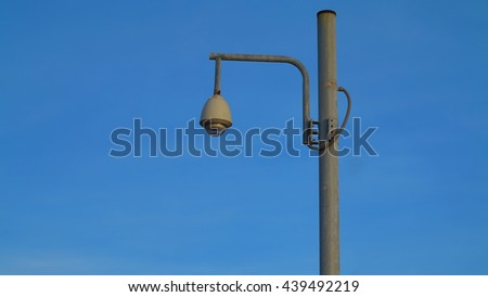Street lamp with blue sky. - stock photo