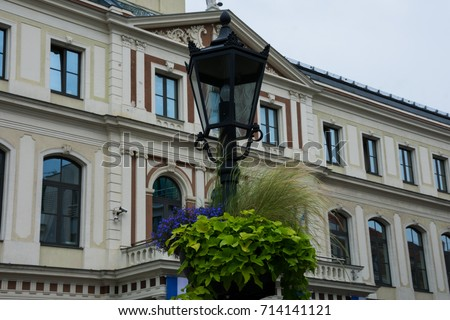 Street Lamp with Riga City Council on the background